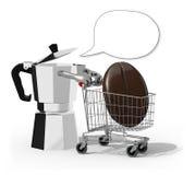 上等咖啡和购物车用里面大咖啡豆 免版税库存图片