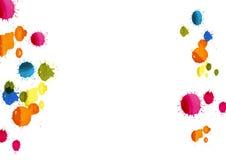 上色下落背景,在白色背景,传染媒介例证的五颜六色的水彩绘画 图库摄影