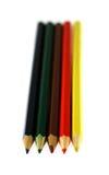 上色不同的五支查出的铅笔空白 库存图片