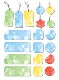 上色不同的标签雪花 免版税图库摄影