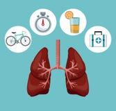 上色与呼吸系统的背景与荒地元素象  库存例证