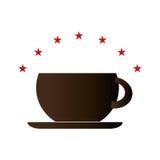 上色与咖啡杯的背景,并且星加冠 库存例证