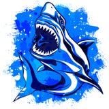 上色与开放嘴的水彩积极的鲨鱼 免版税库存照片