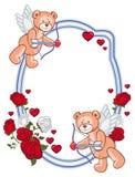上色与玫瑰的框架和与弓的玩具熊和翼,看起来丘比特 库存照片