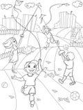 上色传染媒介比赛风筝飞行的孩子 库存照片