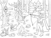 上色传染媒介箭头的孩子在有动物的森林里 皇族释放例证图片