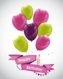 上色光滑的生日快乐气球横幅背景 免版税库存照片