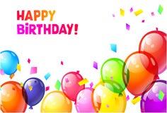 上色光滑的生日快乐气球 免版税库存照片