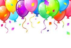 上色光滑的生日快乐气球 免版税库存图片