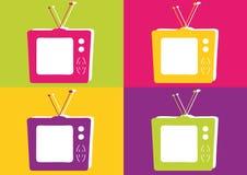 上色减速火箭的电视充满活力 库存例证