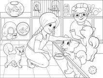 上色动画片联络动物园传染媒介的孩子 皇族释放例证