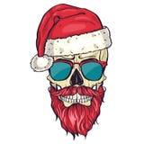 上色圣诞老人的手拉的恼怒的头骨 图库摄影