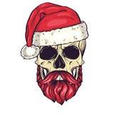 上色圣诞老人的手拉的恼怒的头骨 免版税库存照片