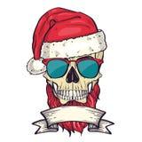 上色圣诞老人的手拉的恼怒的头骨 库存图片