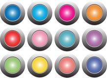 上色在白色背景的按钮,隔绝为网站,广告,社会营销 免版税库存照片