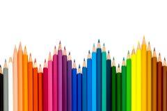 上色在白色背景的铅笔与裁减路线 库存图片