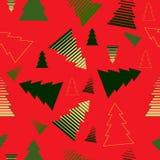 上色在红色背景,传染媒介例证的圣诞树 免版税库存图片