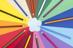 上色在纸的铅笔与花备忘录笔记 免版税图库摄影