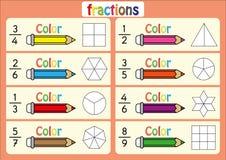 上色形状显示分数,教育,上色代表每个分数形状的部分,算术活页练习题 库存照片
