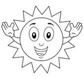 上色愉快的夏天太阳字符 库存图片