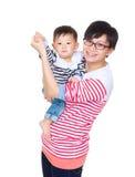 上色愉快空白她的母亲软的儿子 库存图片