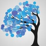 上色抽象,在白色背景的树 免版税库存照片