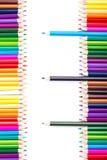 上色有站立在右边的三支铅笔的铅笔 库存图片
