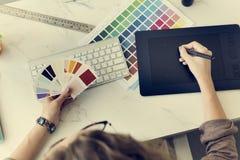 上色树荫样片固定式设计师创造性的概念 免版税图库摄影