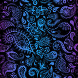 上色模式可能的变形多种向量 无缝的详细的花例证 乱画样式,反弹花卉背景 库存图片