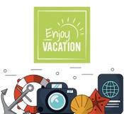 上色海报享受与船锚和漂浮箍和照相机和护照的假期 库存图片
