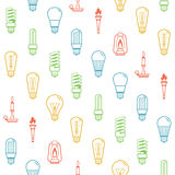 上色电灯泡剪影无缝的背景 也corel凹道例证向量 免版税库存图片