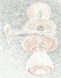 上色白色和棕色门把 免版税库存照片