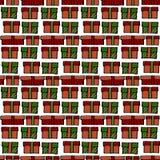 上色的经典圣诞节,红色,绿色和白色礼物盒seamles 免版税库存照片