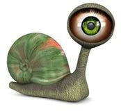 上色眼睛绿色蜗牛 图库摄影