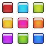 上色空白方形光滑的按钮。 免版税库存图片