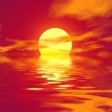 上色红色虚拟日落 免版税图库摄影