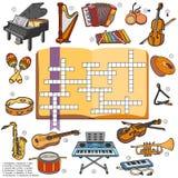 上色纵横填字谜,孩子的比赛关于乐器 库存例证