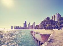 上色被定调子的芝加哥江边地平线清早,美国 库存图片