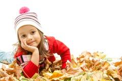 上色逗人喜爱的女孩叶子一点 库存图片