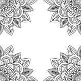上色页书的印地安花卉框架 免版税库存图片