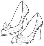 上色页的夫人的凉鞋 库存图片