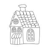 上色页的滑稽的童话房子孩子被隔绝在白色 库存照片