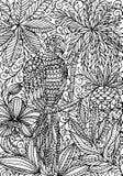 上色页的鹦鹉金刚鹦鹉和热带植物 皇族释放例证