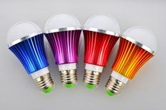 上色LED电灯泡 库存照片