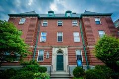 34登上赤褐色街道,在哈佛大学,在剑桥, Mas 免版税库存照片