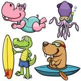 水上运动动物字符 免版税库存照片