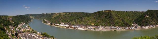 上部中间莱茵河谷的全景在圣Goar附近的 库存图片