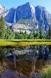 上部优胜美地秋天反射,优胜美地,优胜美地国家公园 免版税库存照片