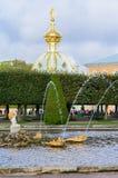 上部公园被创造了在沙皇皮埃尔一世・德・波旁下 它位于在圣彼德堡大道和盛大Peterhof之间的Peterhof 图库摄影