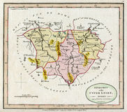 上部卢瓦尔河法国古董1794地图  免版税库存照片